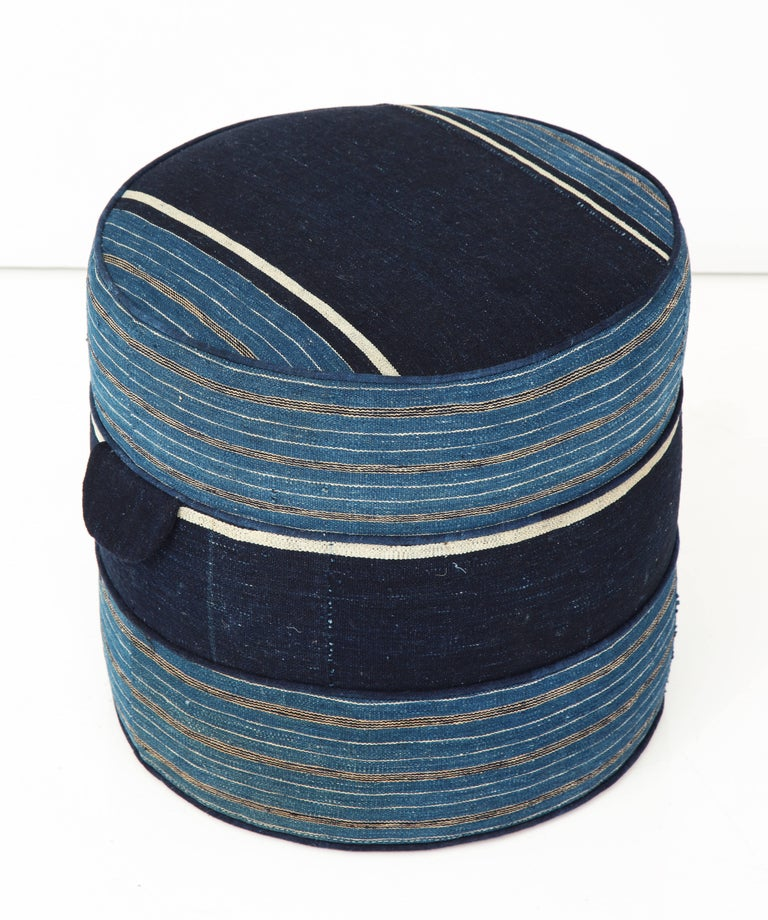 NK Collection Small Round Hassock Upholstered in Indigo African Fabric For Sale 1