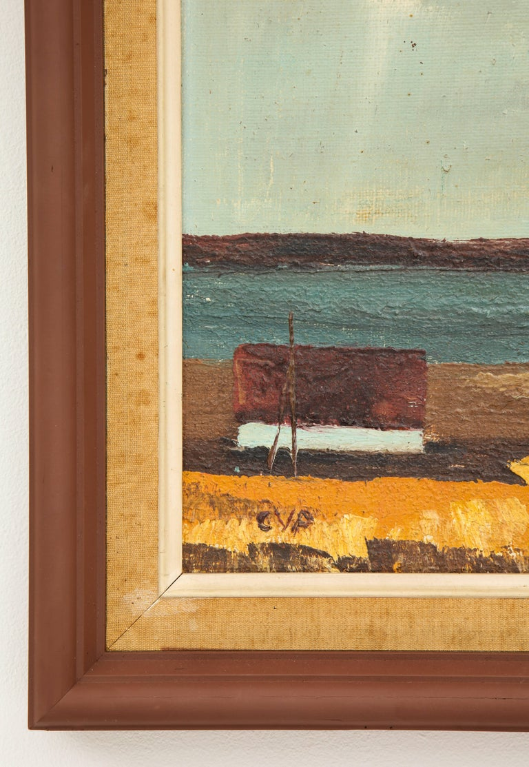 Wood Framed Vintage Landscape with Seaside Scene with House In Distressed Condition For Sale In Los Angeles, CA