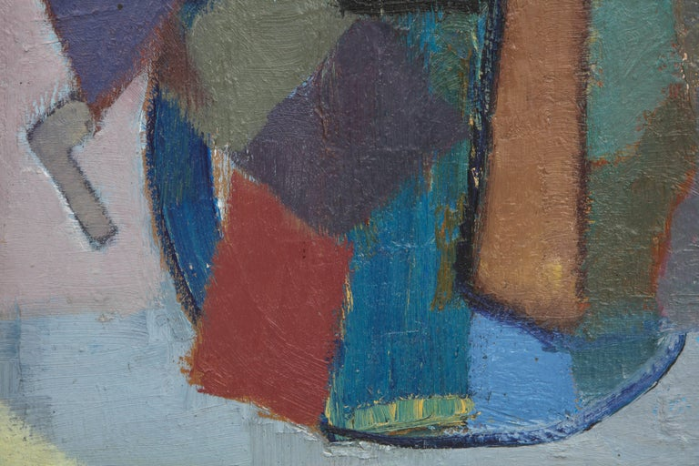 Vintage Cubist Painting with Cobalt Blue and Brown Details 5