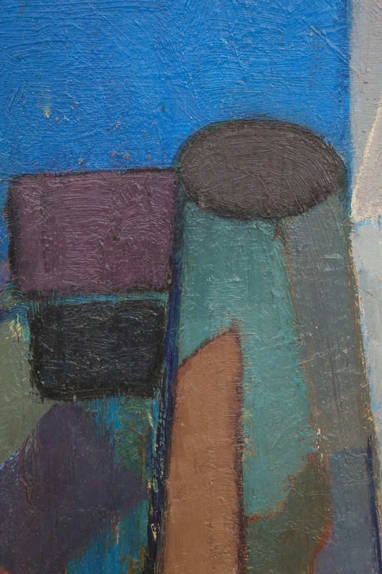 Vintage Cubist Painting with Cobalt Blue and Brown Details 3