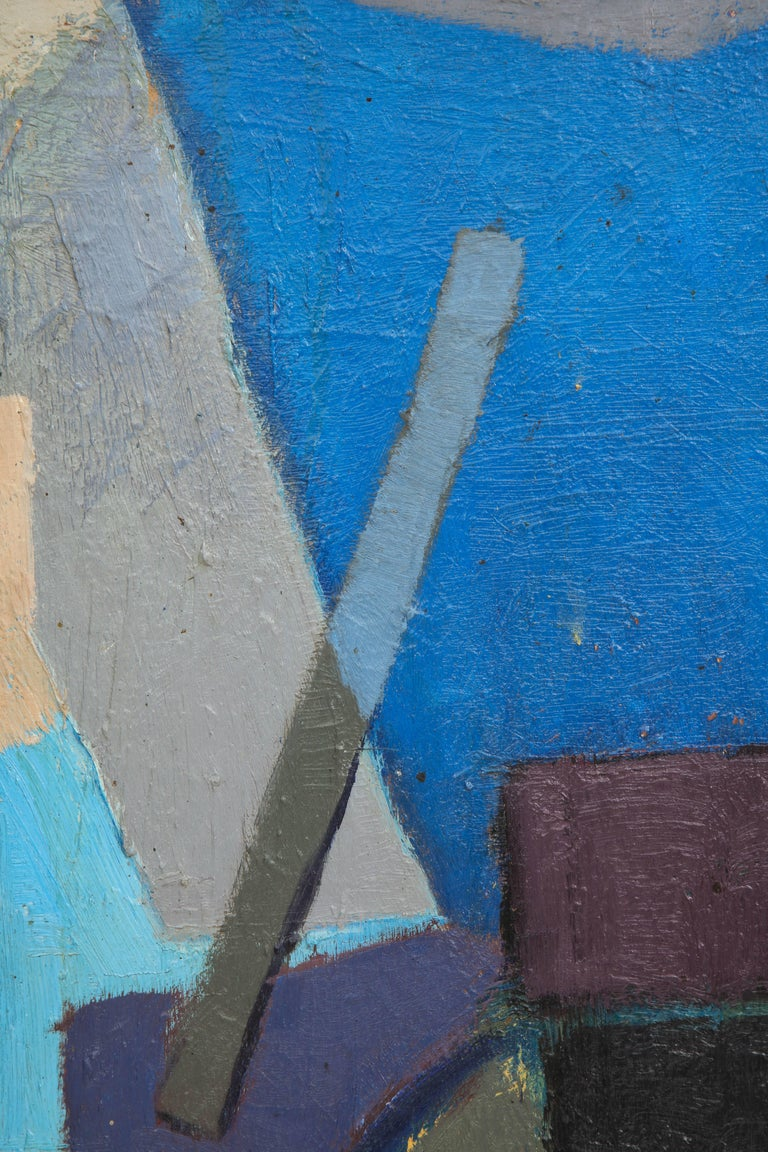 Vintage Cubist Painting with Cobalt Blue and Brown Details 4