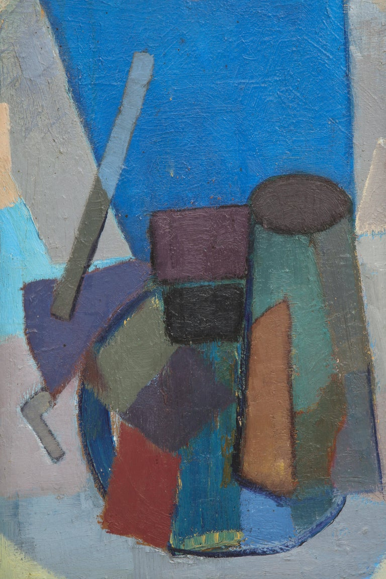 Vintage Cubist Painting with Cobalt Blue and Brown Details 2