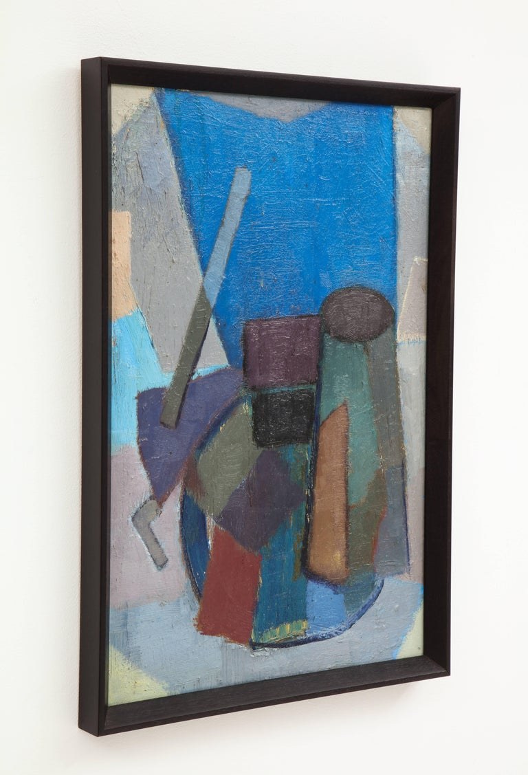 Vintage Cubist Painting with Cobalt Blue and Brown Details 7