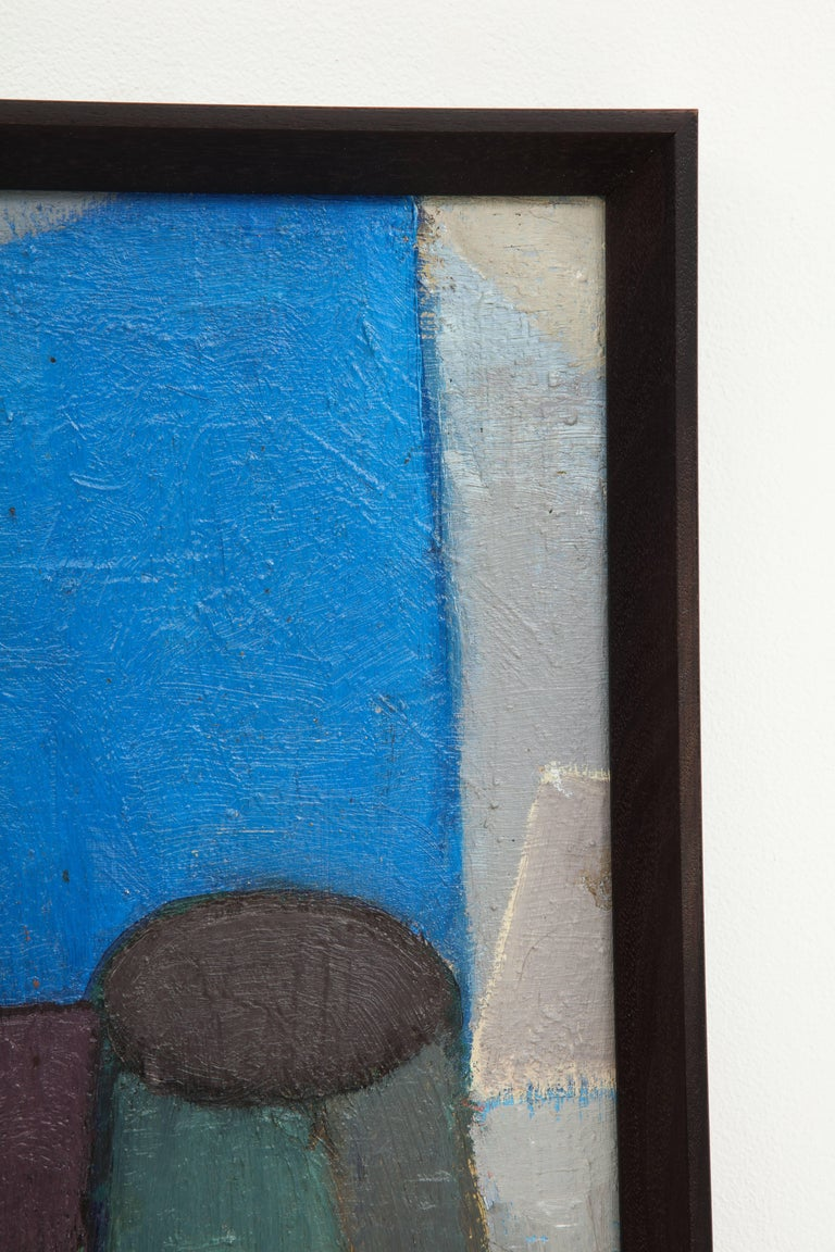 Vintage Cubist Painting with Cobalt Blue and Brown Details 6