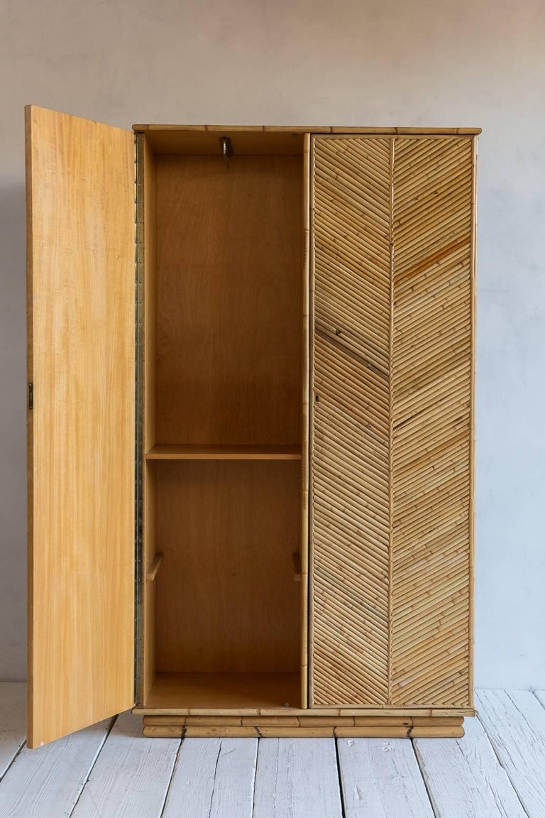 Bamboo Two-Door Armoire Wardrobe with Chevron Front Detail 4