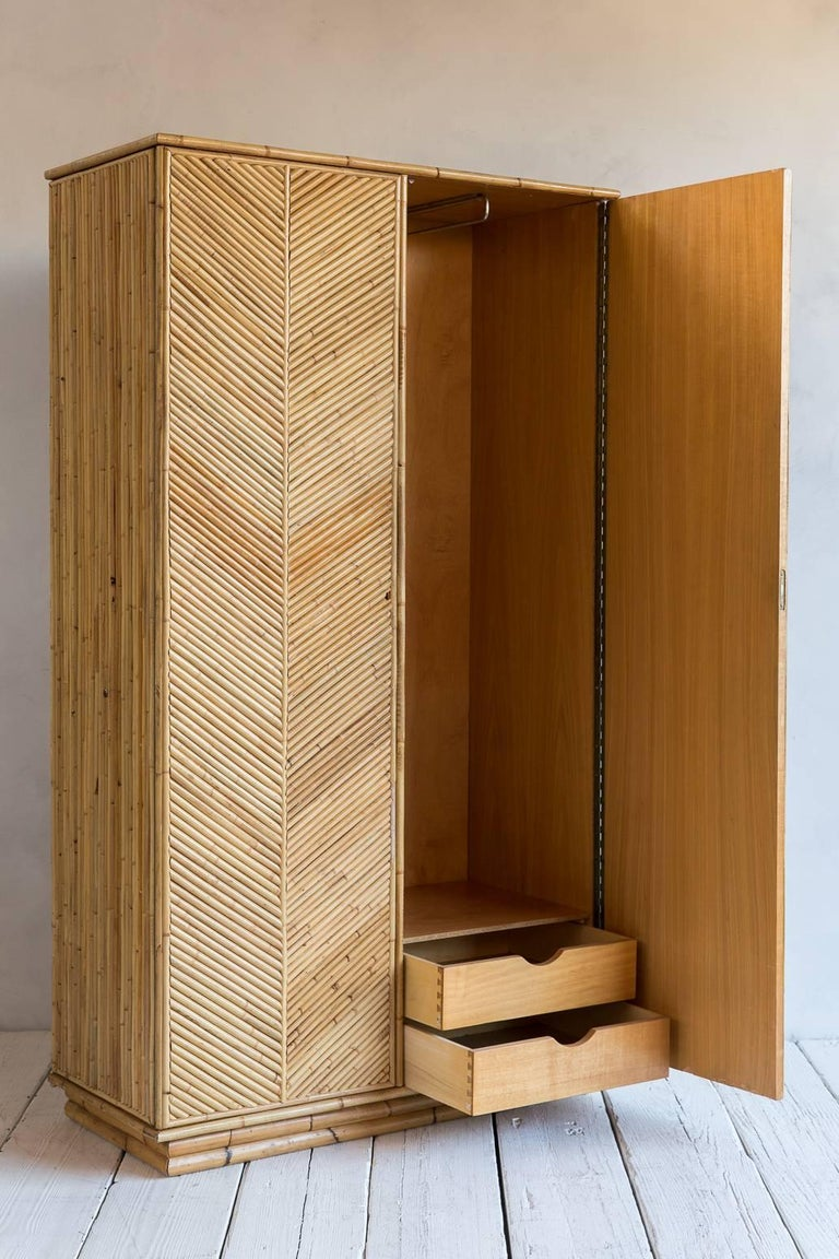 Bamboo Two-Door Armoire Wardrobe with Chevron Front Detail 3