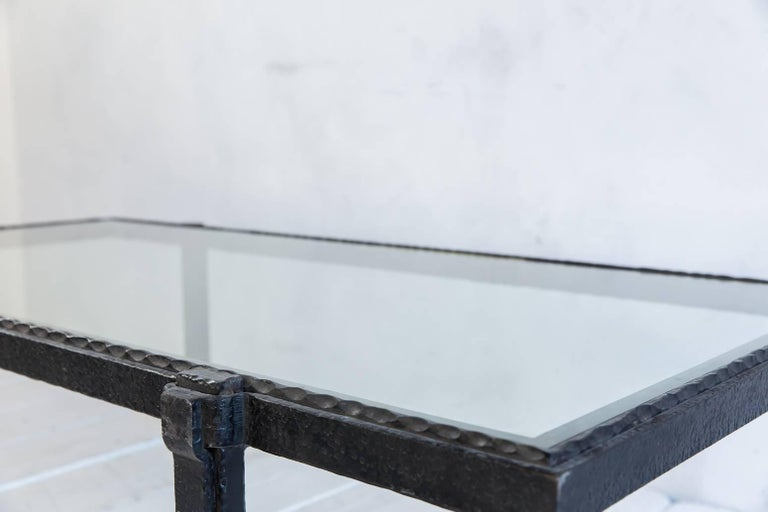 Rectangular Brutalist Iron and Glass Cocktail Table In Excellent Condition For Sale In Los Angeles, CA