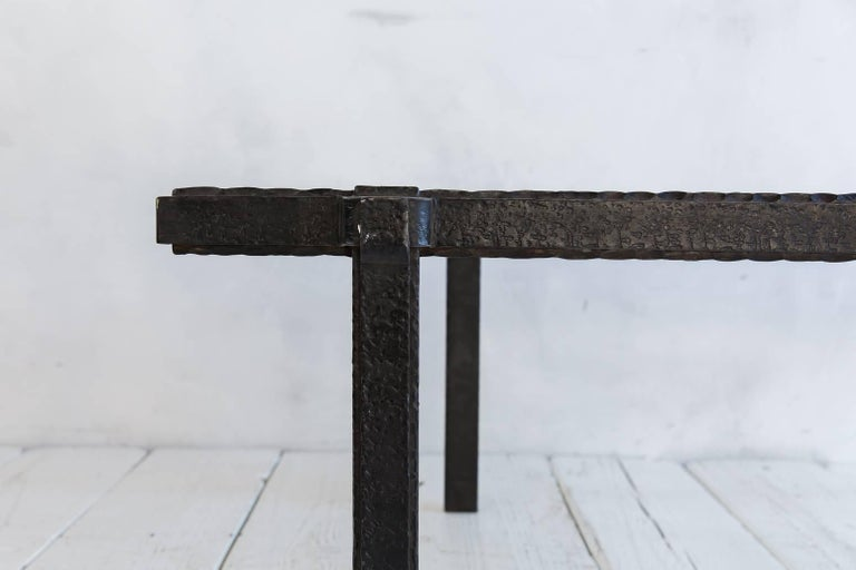 Rectangular Brutalist Iron and Glass Cocktail Table For Sale 3