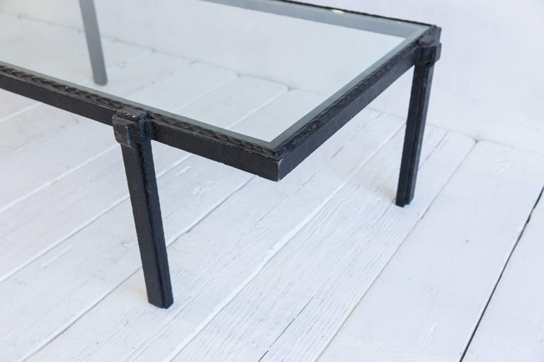 Rectangular Brutalist Iron and Glass Cocktail Table For Sale 2