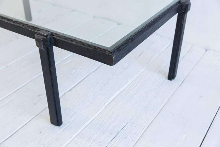 Rectangular Brutalist Iron and Glass Cocktail Table For Sale 1