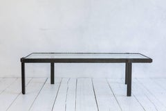 Rectangular Brutalist Iron and Glass Cocktail Table