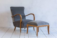 French Armchair and Matching Ottoman Upholstered in Grey Velvet