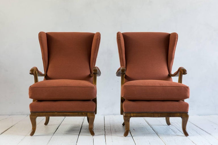 Pair of Vintage Italian Wing Chairs Upholstered in Rust Ripstop Howe Fabric 2