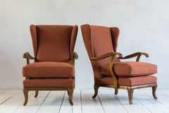 Pair of Vintage Italian Wing Chairs Upholstered in Rust Ripstop Howe Fabric