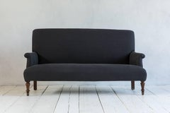 Vintage Settee with Turned Legs Newly Upholstered in Graphite Linen