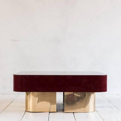 Vintage Lacquered Coffee Table with Brass Recessed Base