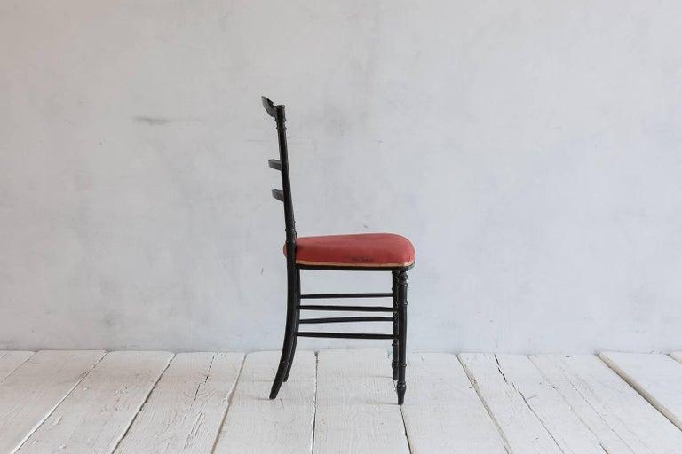 French Chiavari Black Framed Petite Side Chairs 3