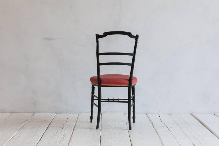 Mid-20th Century French Chiavari Black Framed Petite Side Chairs For Sale