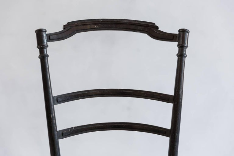 French Chiavari Black Framed Chair Upholstered in Original Green Fabric In Excellent Condition For Sale In Los Angeles, CA