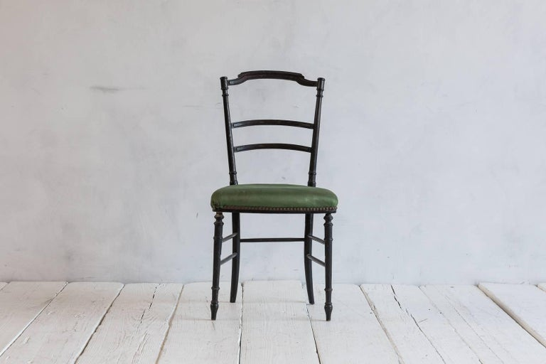 French Chiavari Black Framed Chair Upholstered in Original Green Fabric For Sale 1