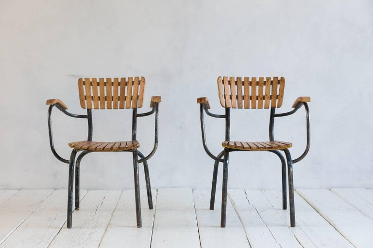 Set of Four Slatted Metal and Wood Armchairs 5