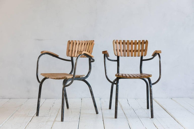 Set of Four Slatted Metal and Wood Armchairs 2