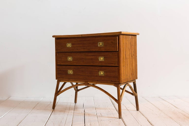 French Bamboo Three-Drawer Dresser Commode with Brass Pulls For Sale 1