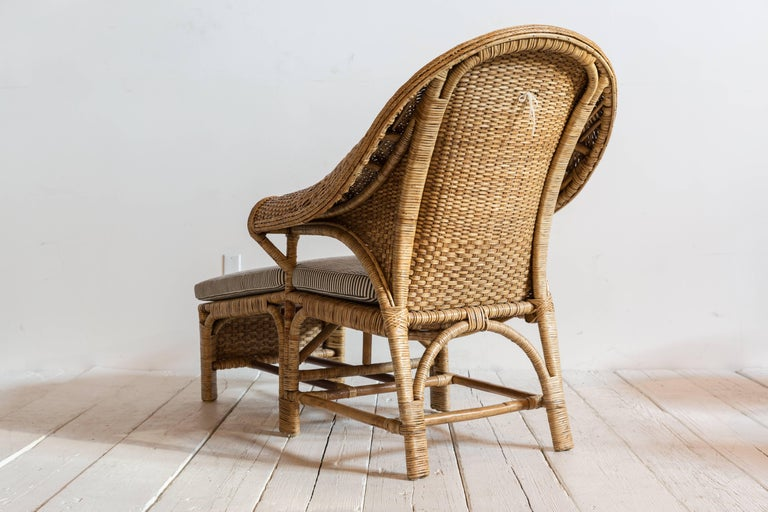 Late 20th Century Vintage Rattan Chaise Lounge with Upholstered in Black and White Striped Fabric For Sale
