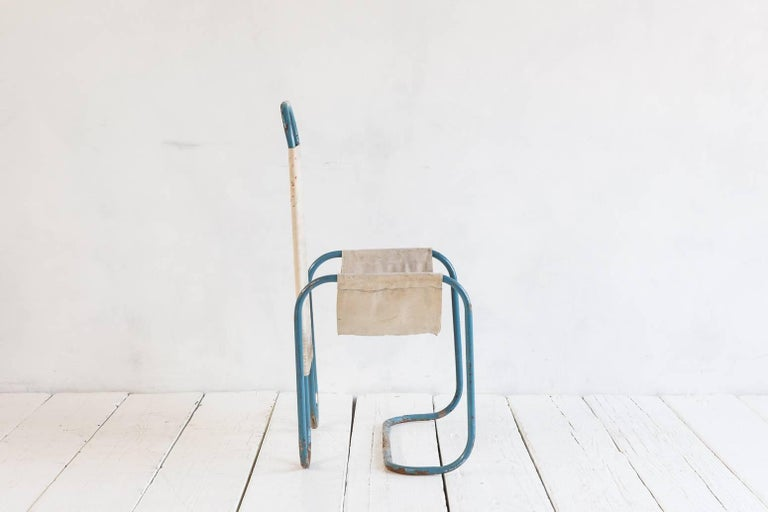 Early 20th Century Blue Metal Bauhaus Sling Chair For Sale
