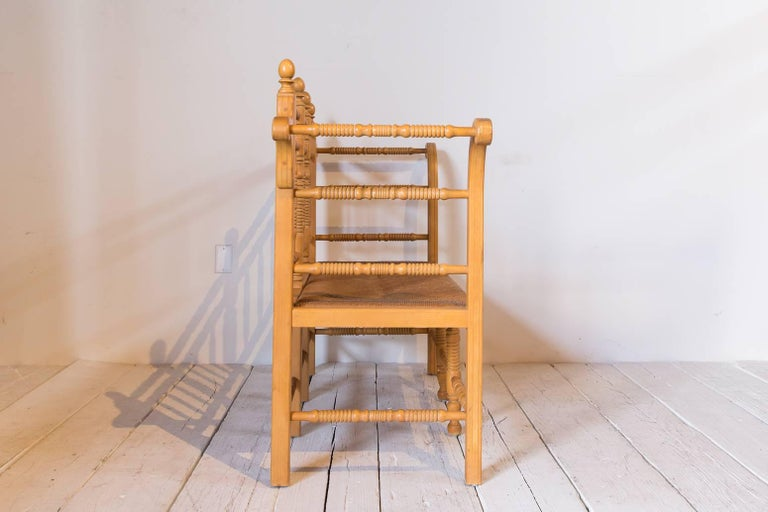 Edwardian Style Light Oak Spindle Bench with Rush Seat and Curved Arms For Sale 2