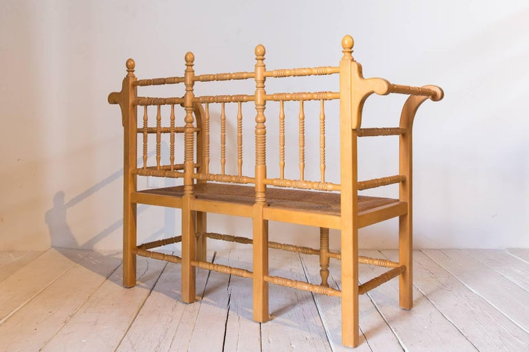 Edwardian Style Light Oak Spindle Bench with Rush Seat and Curved Arms For Sale 1
