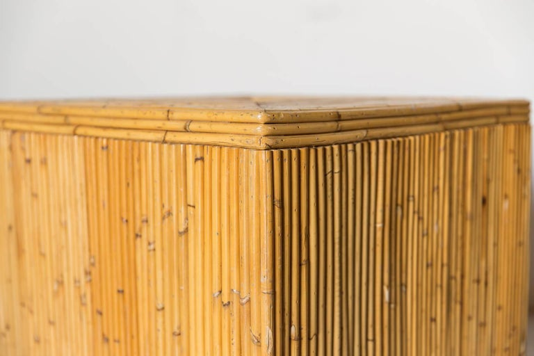Pair of Bamboo Cube Tables with a Concentric Border Inlay Detail 4