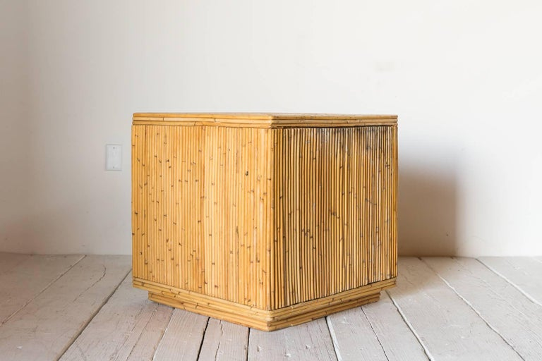 Pair of Bamboo Cube Tables with a Concentric Border Inlay Detail 2