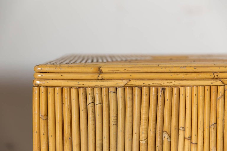 Pair of Bamboo Cube Tables with a Concentric Border Inlay Detail 3