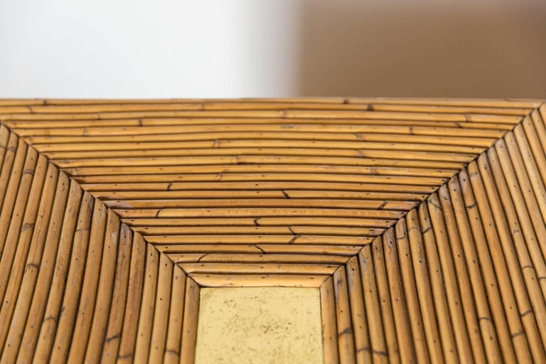 Pair of Bamboo Cube Tables with a Concentric Border Inlay Detail 6