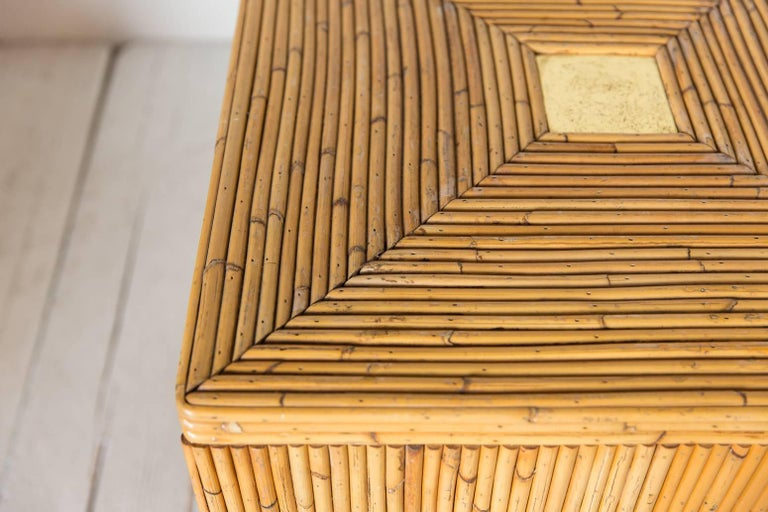 Pair of Bamboo Cube Tables with a Concentric Border Inlay Detail 5