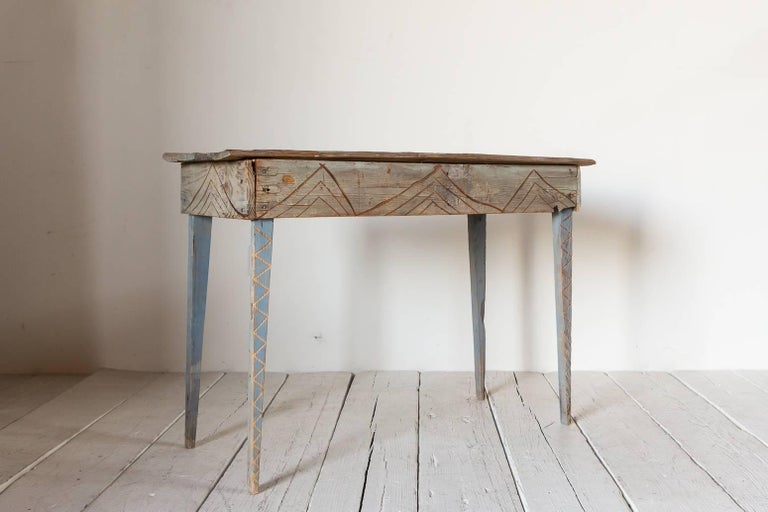 Primitive Blue Painted South Western Style Console with Geometric Carvings In Distressed Condition For Sale In Los Angeles, CA