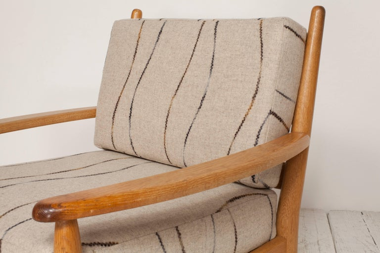 20th Century Midcentury Oak Spindle Chair Newly Upholstered in in Grey Wool Fabric For Sale