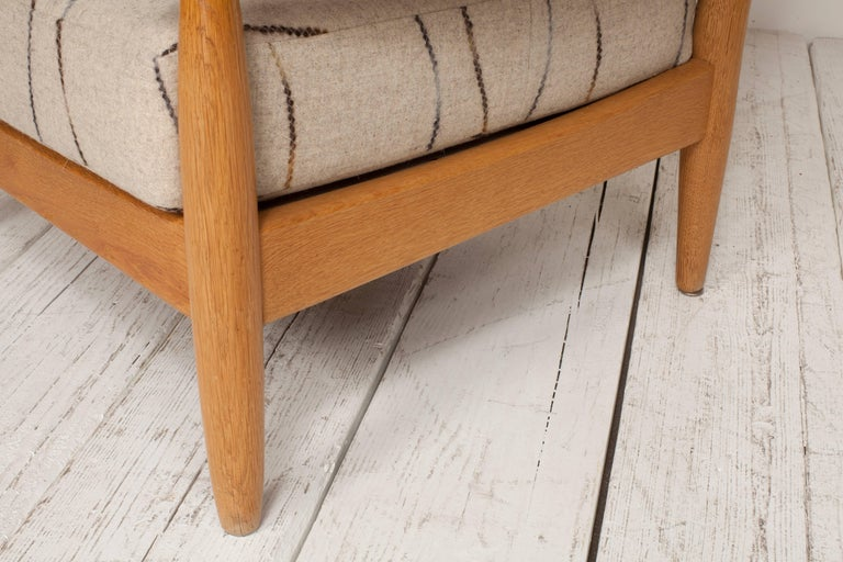 Midcentury Oak Spindle Chair Newly Upholstered in in Grey Wool Fabric For Sale 1