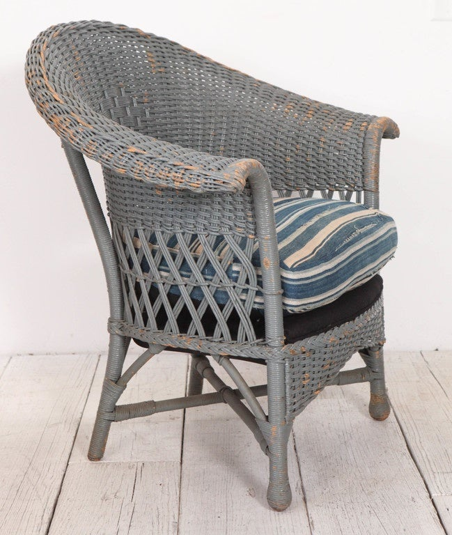 Vintage Wicker Veranda Chair With African Mudcloth Cushion