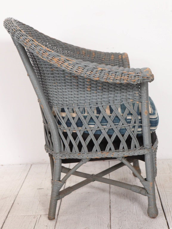Vintage Wicker Veranda Chair With African Mudcloth Cushion For Sale At 1stdibs