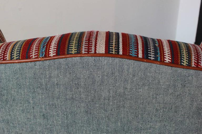 Italian Kilim Wing Back Chair with Original Leather Seat For Sale 2