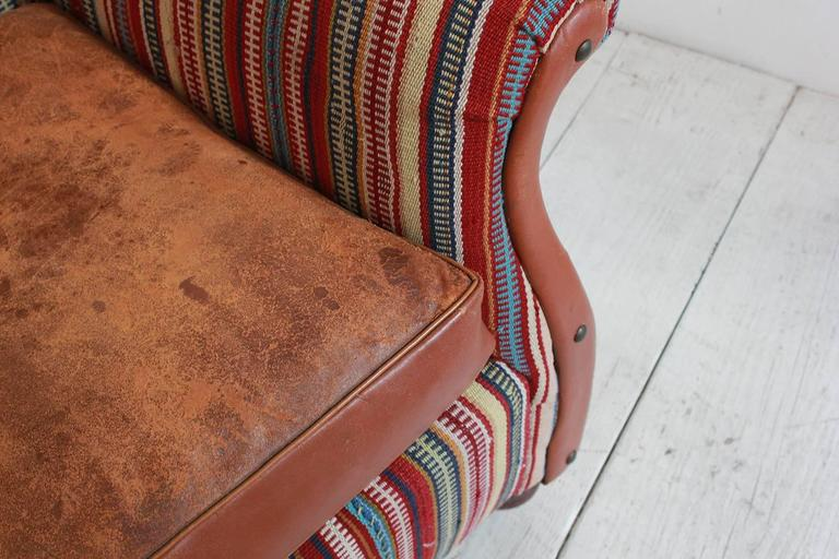 Italian Kilim Wing Back Chair with Original Leather Seat For Sale 3