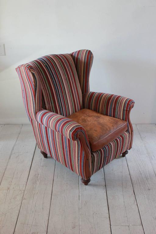 Italian Kilim Wing Back Chair with Original Leather Seat For Sale 4