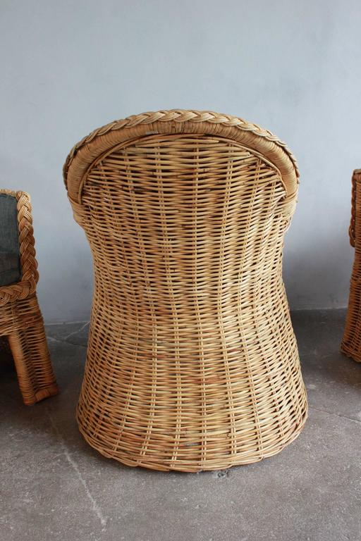 Set of Four Oversized Wicker Dining Chairs Upholstered in Reverse Denim For Sale 4