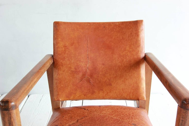 Pair of Borge Mogensen Style Leather and Wood Chairs For Sale 6
