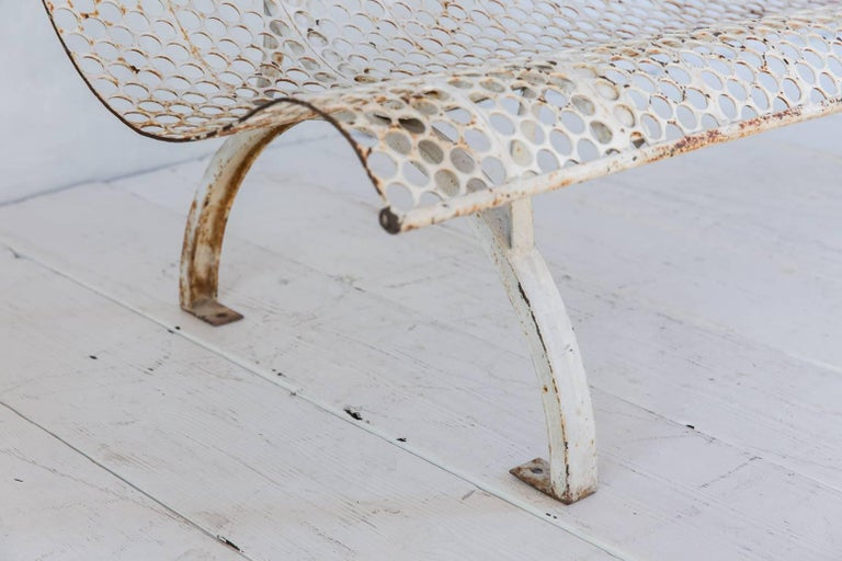 White Armless Metal Perforated with Aged with Aged Patina For Sale 1