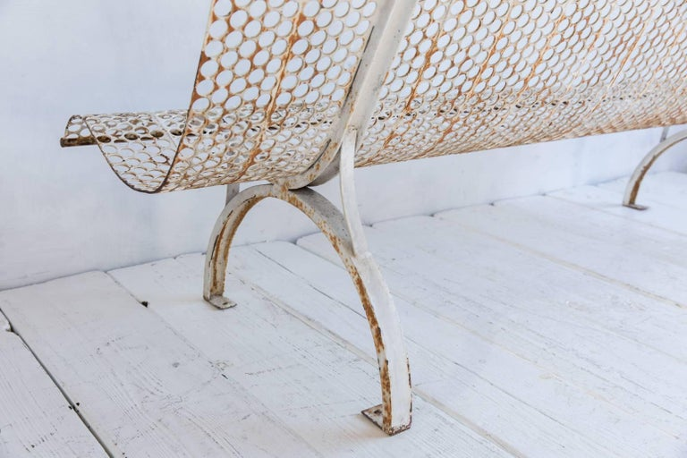 White Armless Metal Perforated with Aged with Aged Patina In Distressed Condition For Sale In Los Angeles, CA