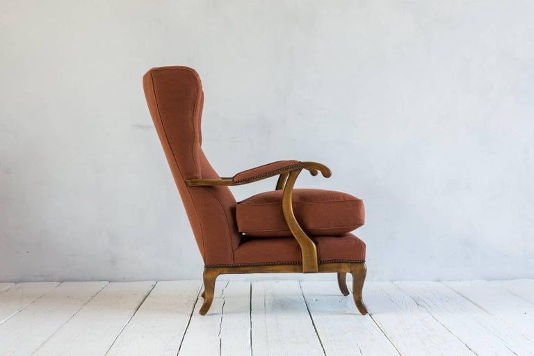 Pair of Vintage Italian Wing Chairs Upholstered in Rust Ripstop Howe Fabric 5