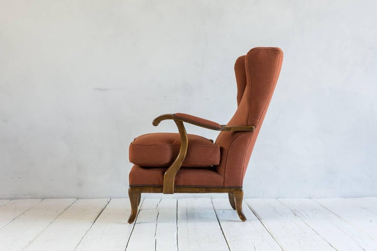 Pair of Vintage Italian Wing Chairs Upholstered in Rust Ripstop Howe Fabric 6
